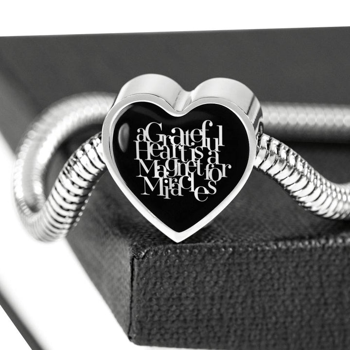 A Grateful Heart... | Luxury Heart Charm Bracelet