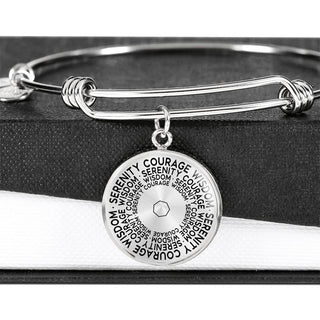Serenity Courage Wisdom | Mantragon Bangle [Silver + Gold]