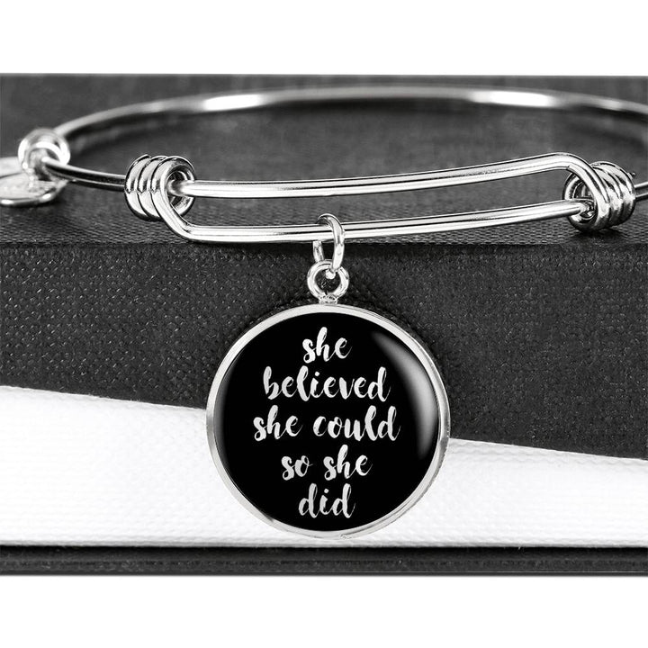 She Believed She Could... | Luxury Circle Bangle [Silver + Gold]