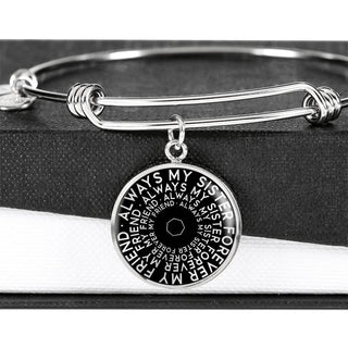 Always My Sister Forever My Friend | Mantragon Bangle [Silver + Gold] Black Edition