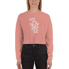 Attitude Of Gratitude | Crop Sweatshirt [Mauve + Black]