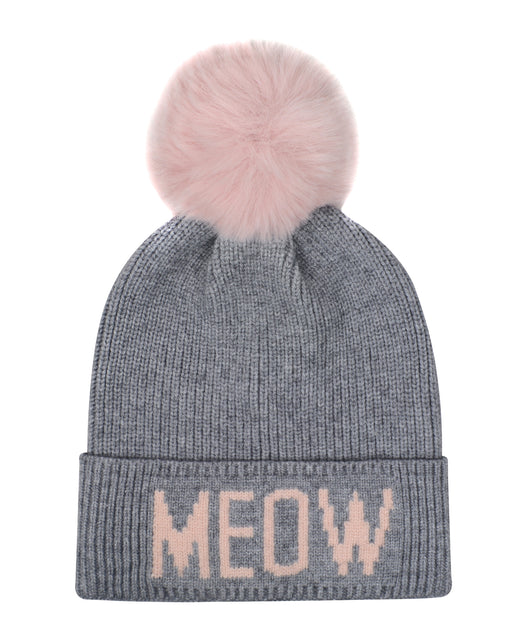 Grey & Pink Faux Fur Toque
