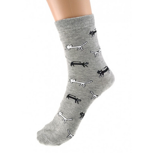 Black and White Cat Print Socks