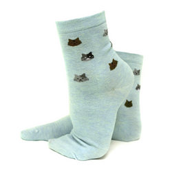 Blue Kitty Face Socks