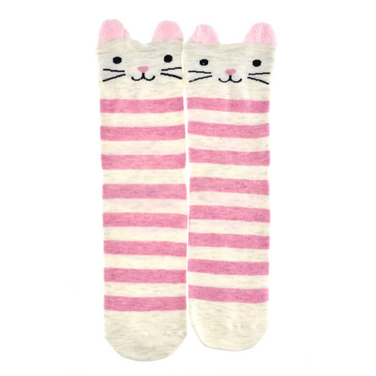 Pink Striped Cat Socks