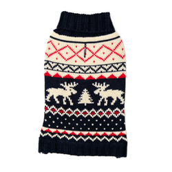 Navy Fairisle Cat Sweater