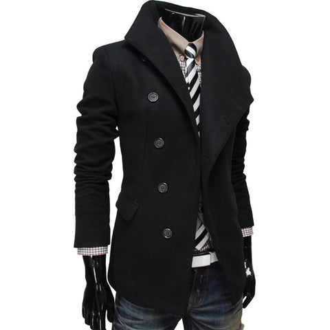 2016 new stye Wool coat men big turn-down collar Korean cultivating Oblique placket for winter  2016