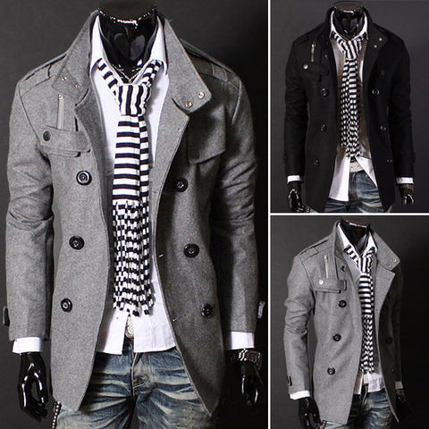 2016 Fashion Spring Autumn Man Trench Coat Slim Double-Breasted Woolen Coat Brand Outerwear Men Casual Jacket 2016