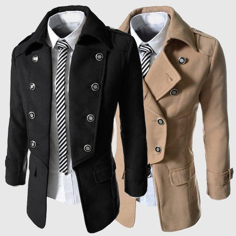 2016 men winter jackets coats men's classic business fashion casual double breasted woolen coat /male slim long woolen blends trench