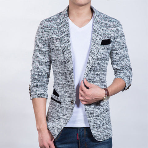 2016 spring autumn high quality jacquard weave blazer men Casual fashion single breasted men blazers Slim fit suit jackets 2016