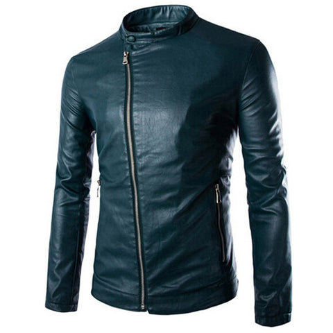 men leather jacket 2016 Men Slim PU Leather Jackets  Fit Motorcycling Style Fashion