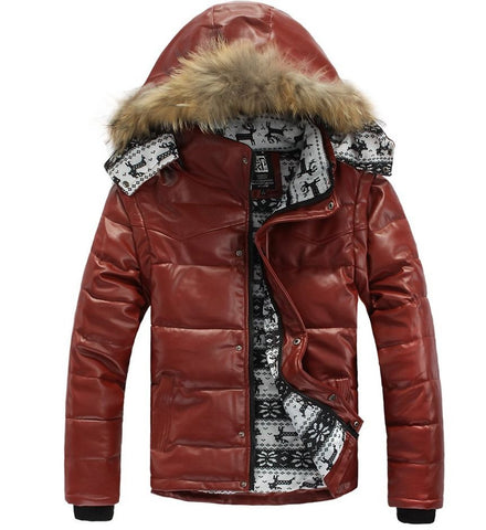 2016 Leather Winter Jacket Real Natural Fur Hooded Thickening Down Cotton Jackets Mens Long Sleeve Coat Parkas