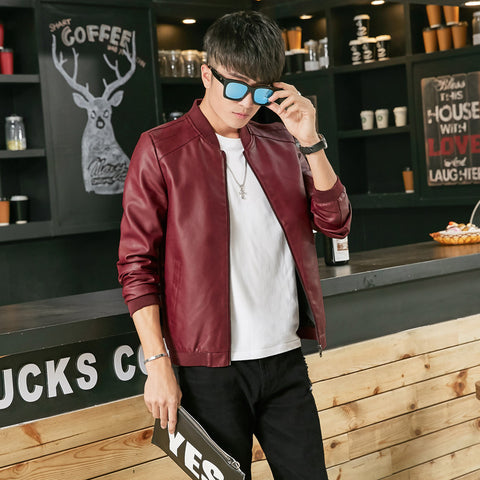 men leather jackets 2016 autumn simple style solid color and slim fit thin leather jacket men