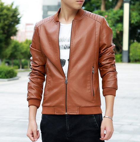 men leather jackets 2016 PU Leather Jacket Men Black Red Brown Solid Mens Faux Fur Coats Trend Slim Fit Younth Motorcycle Jacket 2016