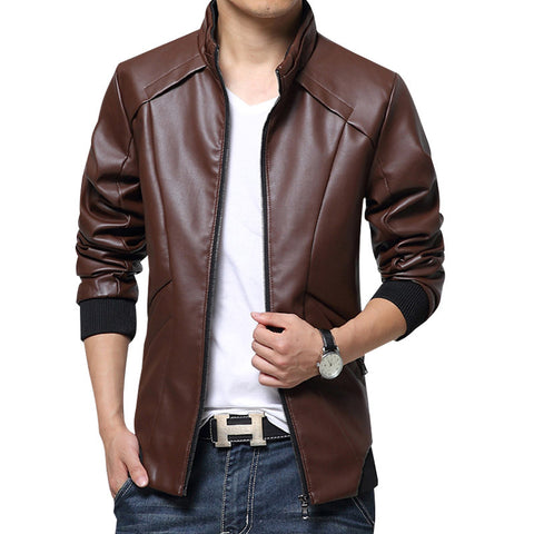 men leather jackets 2016 Stand Collar Mens Leather Jackets Casual Outerwear for Men Black Brown Blue Solid Mens Faux Fur Coats