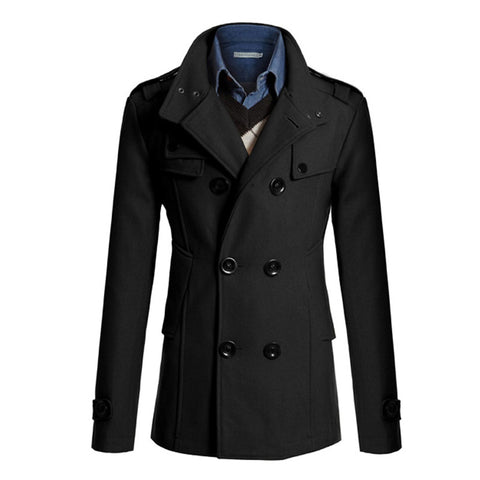 men winter wool jackets 2016  Stand Collar Double Breasted Woolen Coat Pockets Overcoat Brand-clothing 4 Colors Thick Jackets Trench Coat 2016