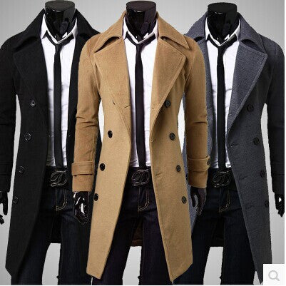 men winter jackets 2016 Fashion Casual Plus Size Trench Coat Jacket Man Double Breasted Long Wool Overcoat Outerwear 2016