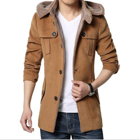 men winter jackets 2016 high quality autumn and winter coat male Korean business casual men's woolen jacket Slim  long sections coat