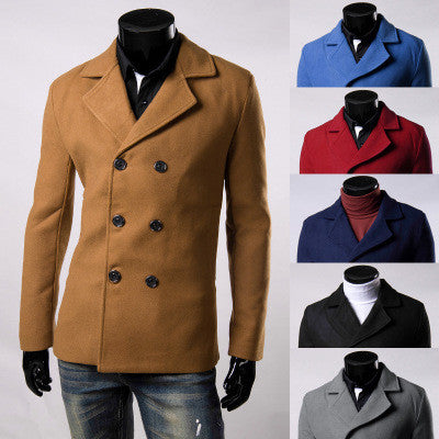 men winter jackets 2016  6 Color 2016 Fashion Design Mens Slim Fit Woolen Coat Male Winter Classical Double Breasted Large
