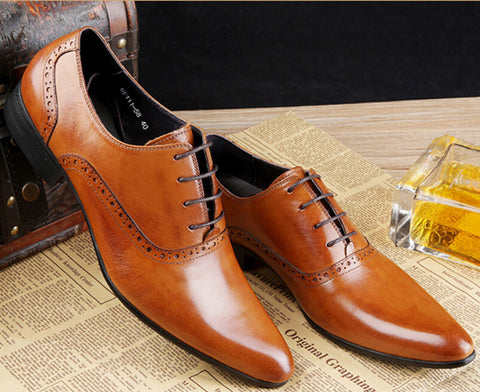 2016 brown tan / black/brown mens dress shoes flats genuine leather wedding shoes mens oxford 2016