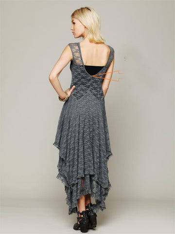Sheer lace dresses double layered ruffled trimming low V-back 48