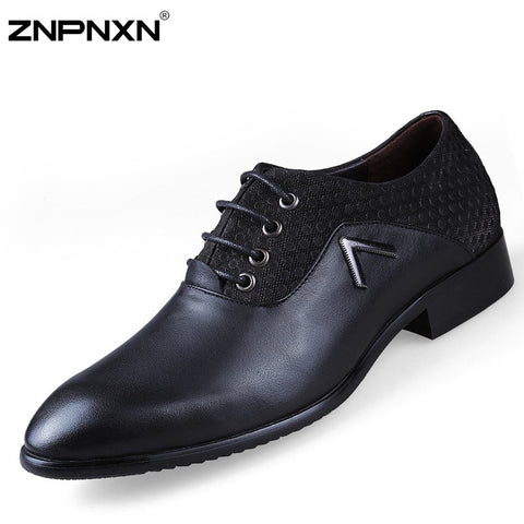 mens leather dress shoes Genuine Leather Men Dress Shoes Pointed Toe Oxfords Shoes For Men Flats Wedding Business 2016