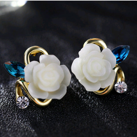 2015 Korean Style Rose Flower Earrings For Women Fashion 18K Gold Plated Crystal Rhinestone Stud Earring Jewelry Brincos