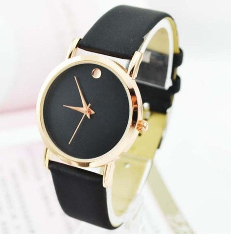 2016 women ladies watches Dot Golden Watch PU Leather vintage wristwatch woman Casual Dress 2016