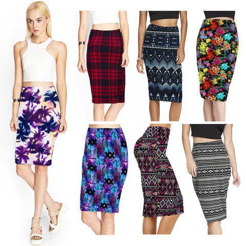 Vintage Fashion Printed Pencil Skirt Midi Women Knee-Length Elastic High Waist Ladies Pattern 46