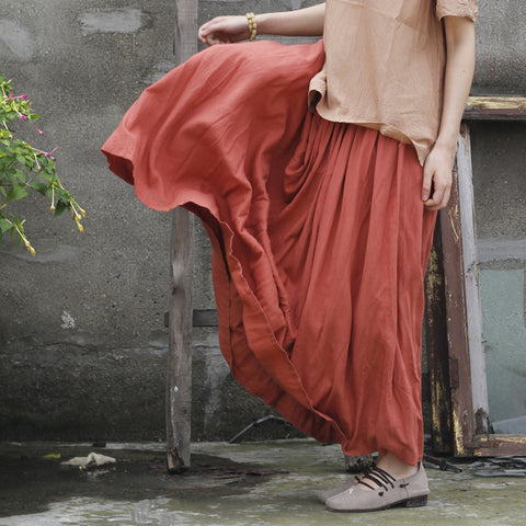 Skirts Cotton Summer New Literary Elastic Waist Loose Pleated Solid Ankle Length Casual 46