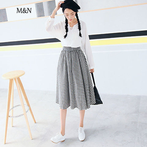 Mid Calf Fashion Skirt Elegant Empire Plaided Casual Cute Skirts Reto Prepp Style Girls Bottoms 46