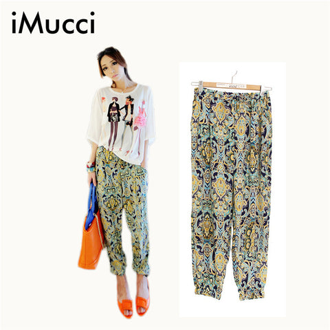 Floral Trousers Casual Women Pants Fashion Printed Bottoms Harem Pants Loose Chiffon 46