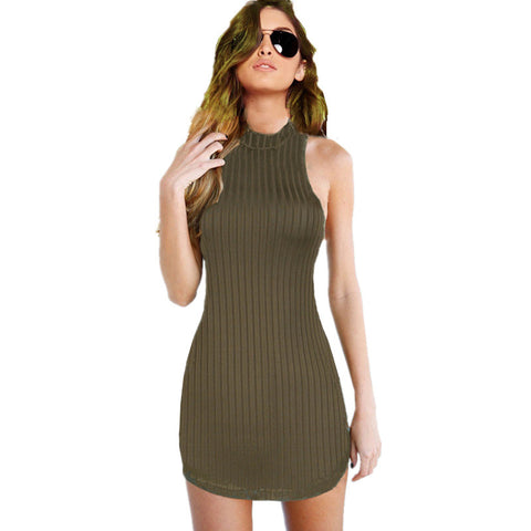 Womens Olive Green Stripped Hatler Bodycon Dress Mini Club Party Dress 43