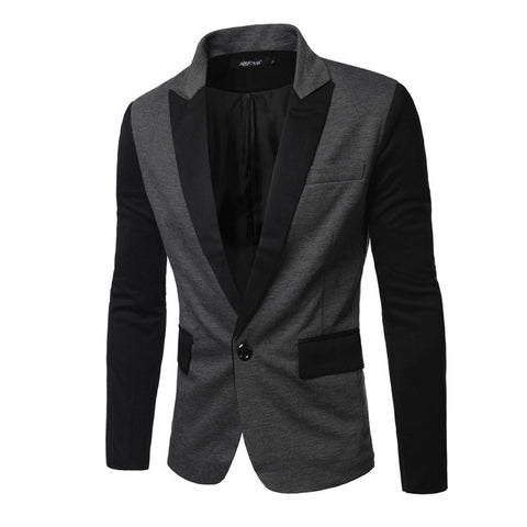 2016 men's business fashion casual turndown collar patchwork suit jacket /male slim single button decorated suit coat blazers