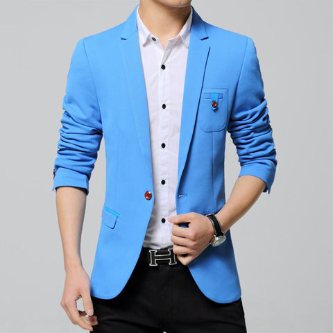 Blazer Masculino Slim Fit Single Button Solid Casual Jacket Korean Fashion Wedding Suit 49