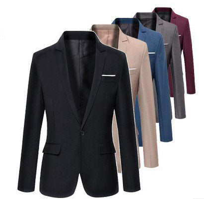 2016 new arrival men casual blazer Korea style slim men full sleeve single button spring and autumn solid blazer coat