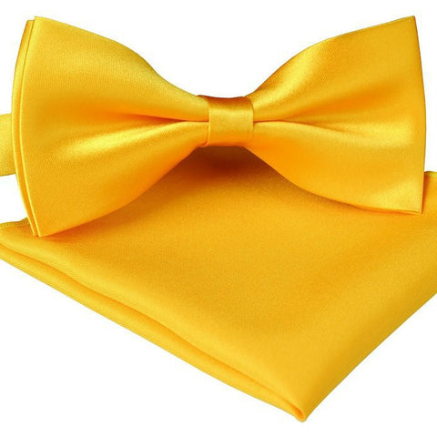 Color  Solid Pre Tied Silk Feel Satin Tuxedo Bow Ties and Pocket Square Set For Mens-Various Colors