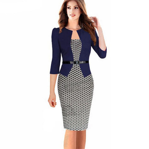 Top Grade Women Work Wear Gown Long Sleeve Elgant Party Patchwork Plaid Peplum Formal Office 43