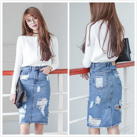 2016 Denim Skirt Women Spring and Summer Vintage Hole Warp Denim Skirt Ladies Fashion Slim Body 46