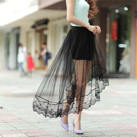 Sexy Lace Skirts  Womens Fashion Long Section Skirt Jupe Tulle Black and White Short Skirt 46