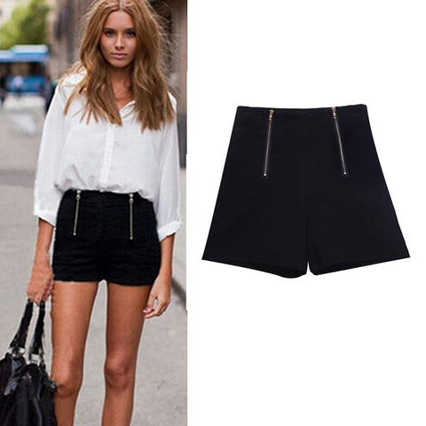 Black High Waisted Shorts Zipper 5 Color Solid Super Short Shorts Women Girl Hot  Casual 46