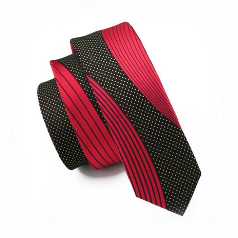 2016 Fashion Slim Tie Red Patchwork Black Skinny Narrow Gravata Silk Jacquard Woven Neckties For Men Wedding Party Groom HH-227