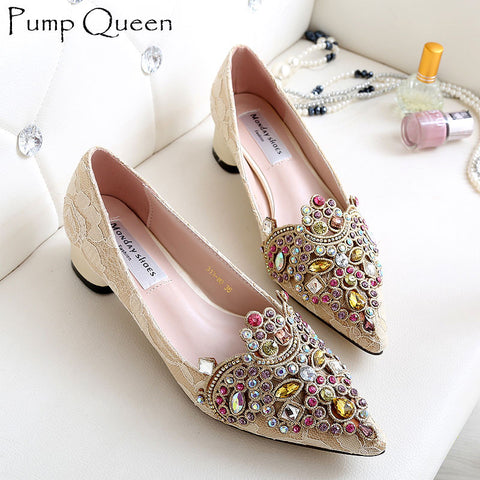 016 Korean Style Shoes Woman Low Heels Lace Upper Luxury Colorful Rhinestone Elegant For Party Date 2016