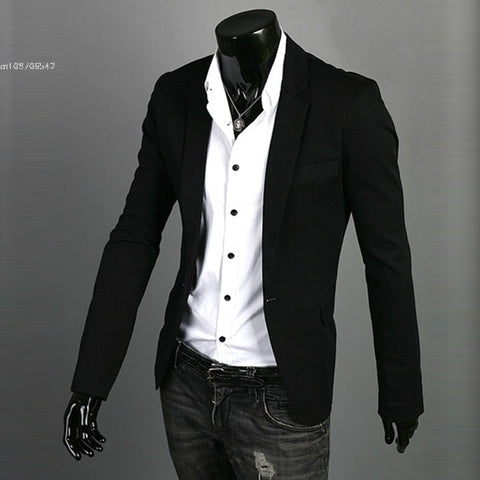New 2013 Hot Men's Blazer Slim Stylish Fit Zip Casual One Button Suit Coat Jackets 3 Colors M-XXL Drop Shipping