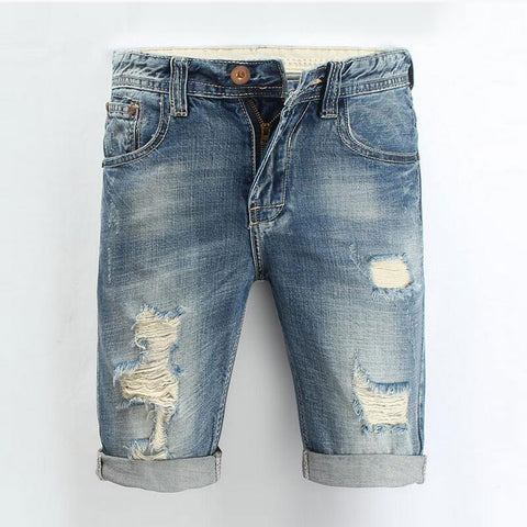 Men Jeans 2016 Summer Casual Men Jeans Shorts Hole High Quality Fashion Knee Length Ripped Jean