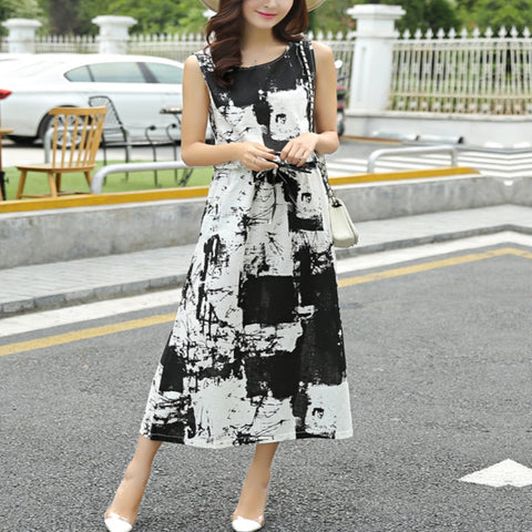 Retro Ink Printing Loose Dress Long Section Vintage Dress 2016 Summer Style Round Neck Sleeveless Cotton Dress Plus Size 43