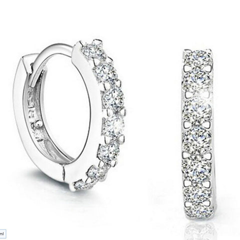 Silver Platinum Plated CZ Diamond Crystal Fashion Hook Earrings Ear Stud Jewelry