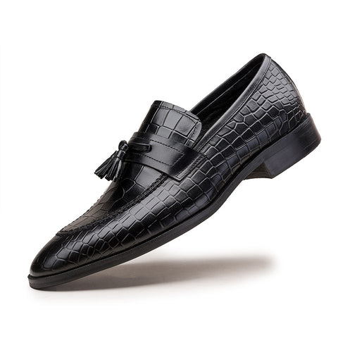 2016 New Breathable Black / Wine red Loafers Mens Dress Shoes Genuine Leather