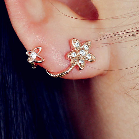 2016 Rose Gold Plated Crystal Flower Earrings Luxury Double Sided Stud Earring joyeria Maxi brincos
