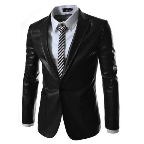 Costume Mens Clothing leisure Black Green PU Faux Leather Outwear plus size slim casual 49
